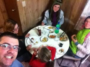 My family having dinner